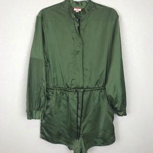 Hunter for Target Zip Front Tie Waist olive Romper